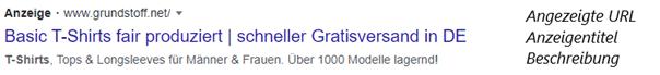 """Beispielanzeige auf Google für den Suchbegriff """"T-Shirt""""."""